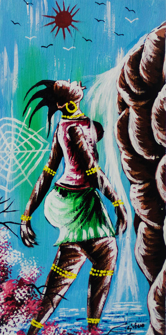 Signed Expressionist Painting of an African Woman from Ghana 'Expression'