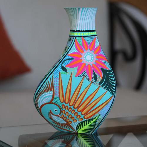 Hand-Painted Eco-Friendly Decorative Vase in Blue 'Path of Destiny'