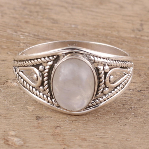 Oval Rainbow Moonstone Cocktail Ring from India 'Gleaming Appeal'