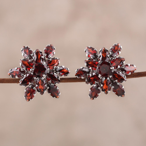 13.5-Carat Rhodium Plated Garnet Button Earrings 'Scarlet Burst'