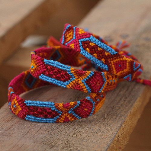 Bright Cotton Wristband Bracelet from Mexico Set of 3 'Forever Friends'