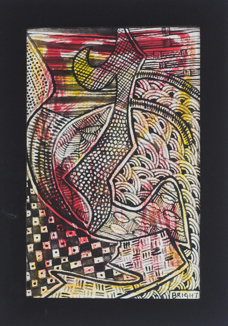 Signed Colorful Abstract Folk Art Painting from Ghana 'Romance'