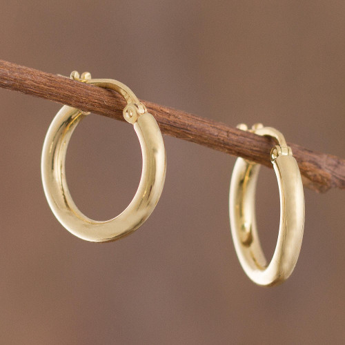 18k Gold Plated Sterling Silver Hoop Earrings from Peru 'Classic Sheen'