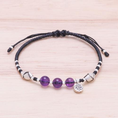 Amethyst Beaded Om Bracelet from Thailand 'Pretty Om'