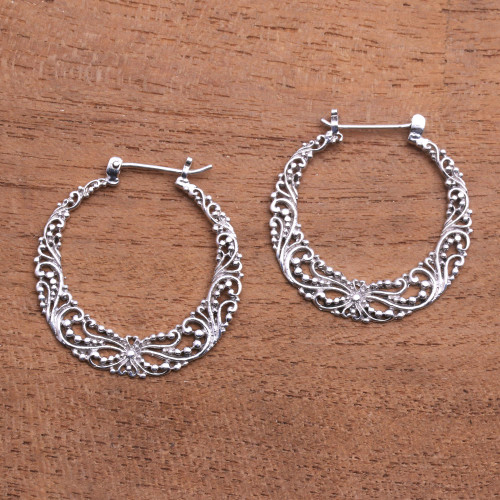 925 Sterling Silver Hoop Earrings with Wire and Dot Motifs 'Balinese River'