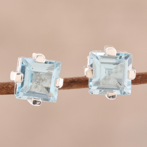 Sparkling Blue Topaz Stud Earrings from India 'India Charm'