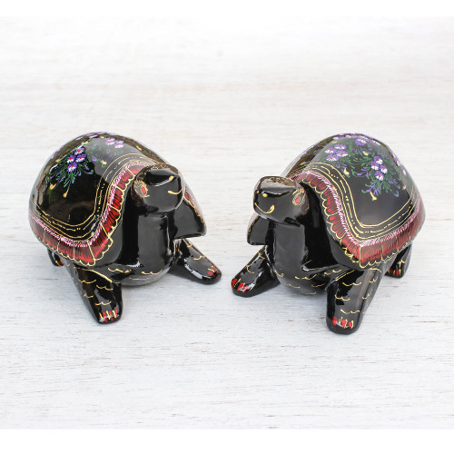 Hand-Painted Floral Wood Decorative Turtle Boxes Pair 'Turtle Couple'
