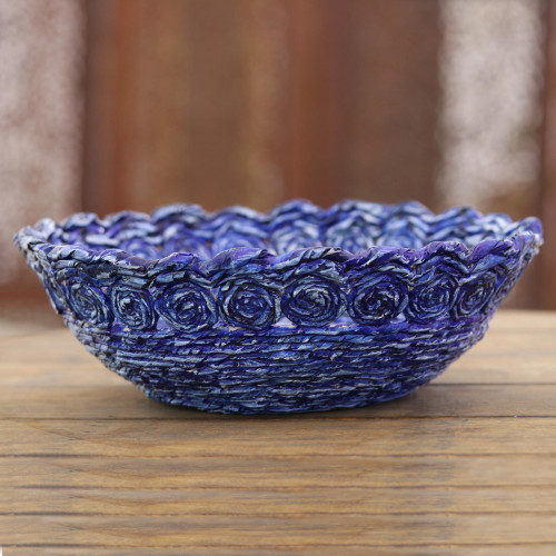 Recycled Paper Basket in Blue from India 'Beautiful Spirals in Blue'