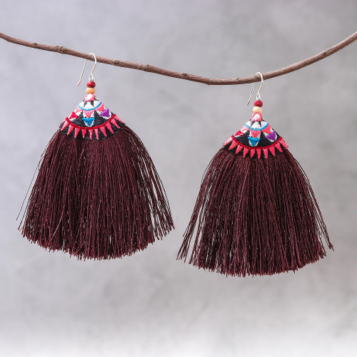 Cotton Blend Fringed Dangle Earrings from Thailand 'Hill Tribe Fringe'