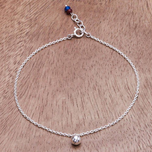 Ringing Bell Sterling Silver and Quartz Anklet from Thailand 'Nice Ring'