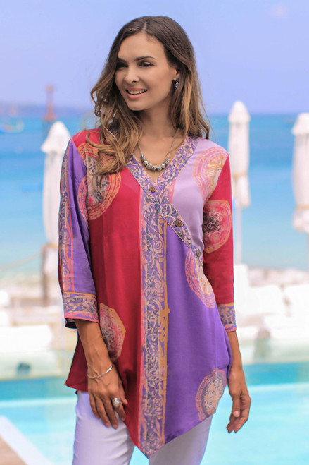 Red and Purple Hand Batik Textured Rayon Flowing Tunic 'Color Symphony in Purple'