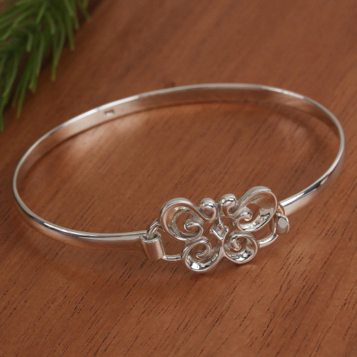 Taxco Sterling Silver Butterfly Bangle Bracelet from Mexico 'Butterfly Curl'
