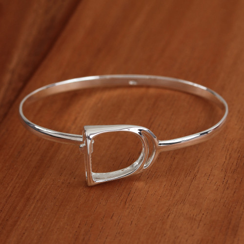 Sterling Silver Bangle Bracelet Crafted in Mexico 'Stirrup'