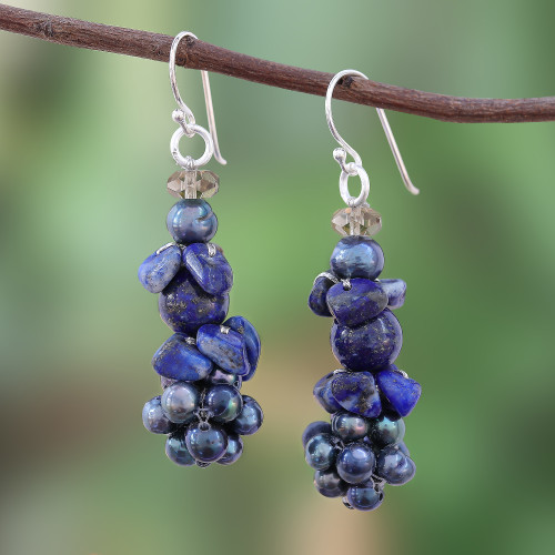 Lapis Lazuli and Cultured Pearl Cluster Earrings 'Heaven's Gift'