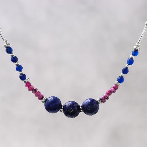 Karen Silver Lapis Lazuli and Dyed Quartz Beaded Necklace 'Karen Summer'