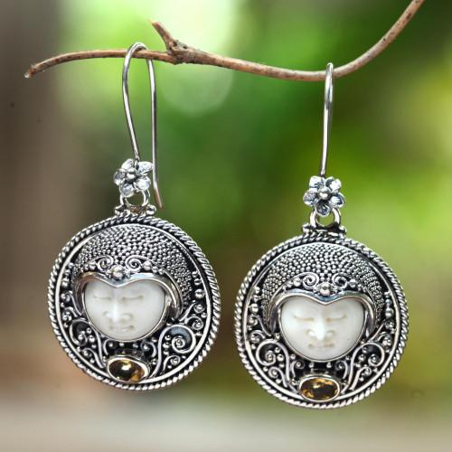 Citrine and Bone Dangle Earrings Crafted in Bali 'Sukawati Guardian'