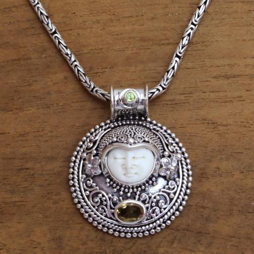 Citrine and Bone Pendant Necklace Crafted in Bali 'Sukawati Guardian'