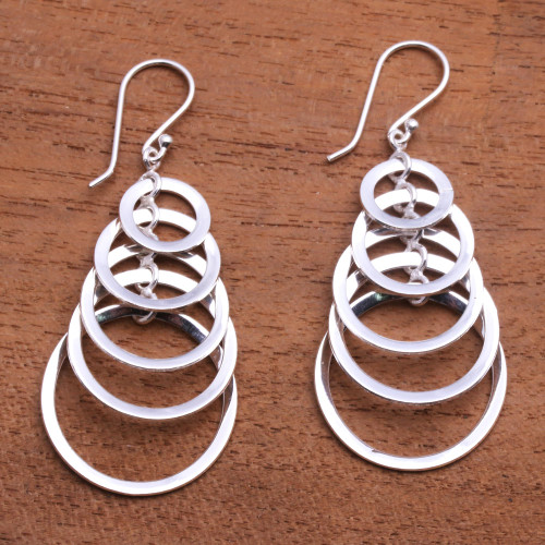 925 Sterling Silver Dangle Earrings with Circle Pattern 'Shimmering Moons'