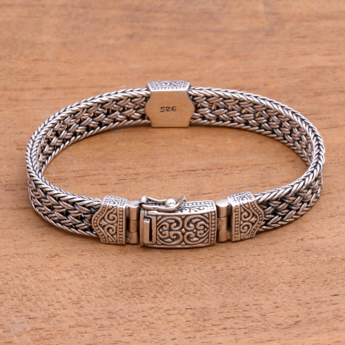 Artisan Crafted Sterling Silver Chain Bracelet from Bali 'Stronger'