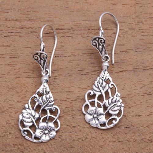 Floral Teardrop Sterling Silver Dangle Earrings from Bali 'Garden Teardrops'