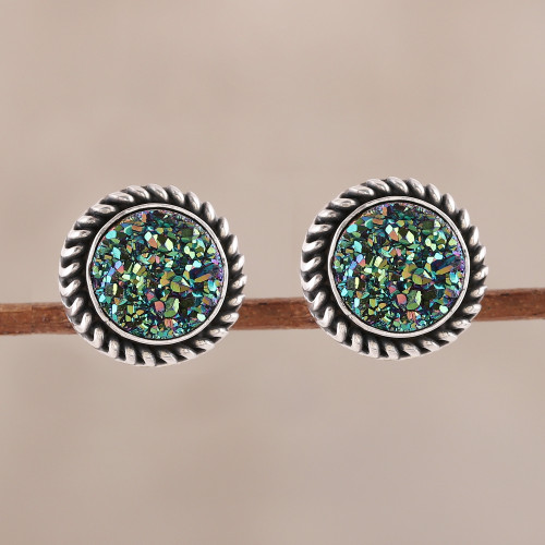 Green Drusy Quartz Stud Earrings from India 'Round Green'