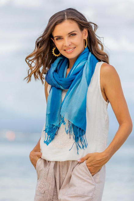 Cotton Wrap Scarves in Blue from Thailand Pair 'Delightful Breeze in Blue'