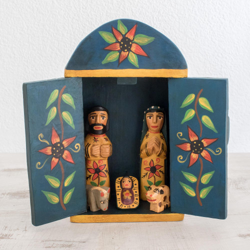 Wood Retablo Nativity Scene from Guatemala 7 Piece 'Retablo Nativity'