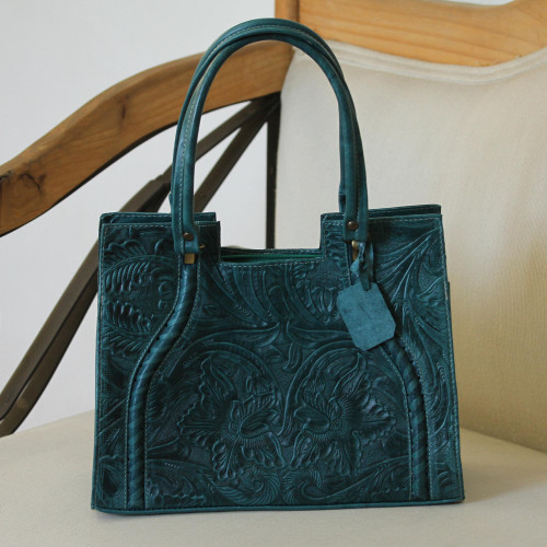 Handcrafted Forest Green Embossed Leather Handle Handbag 'Lush Impressions in Teal'