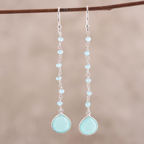 4 Carat Chalcedony Dangle Earrings from India 'Morning Drops'