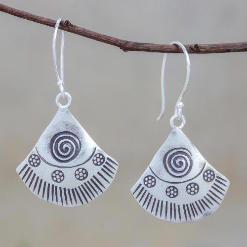 Spiral Motif Karen Silver Dangle Earrings from Thailand 'Spiral Fans'