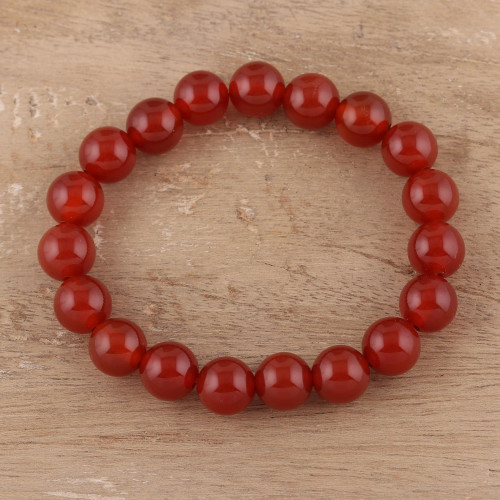 Natural Carnelian Beaded Stretch Bracelet from India 'Gorgeous Fire'