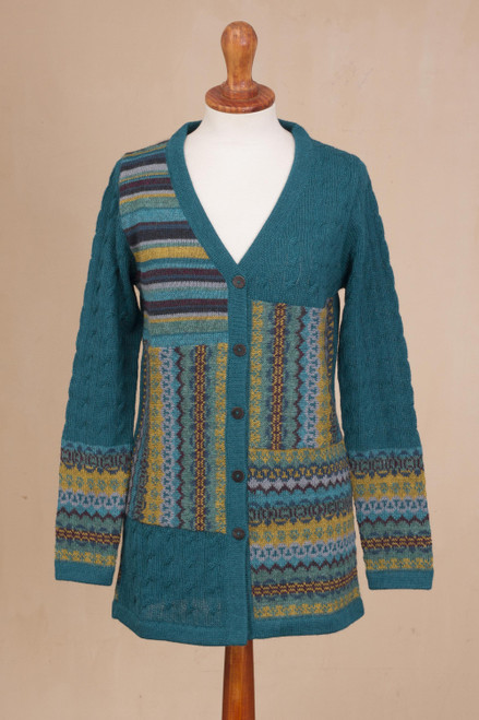 Cable Knit 100 Alpaca Cardigan in Teal from Peru 'Patchwork in Teal'