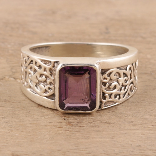 Sparkling Amethyst Ring from India 'Purple Glisten'