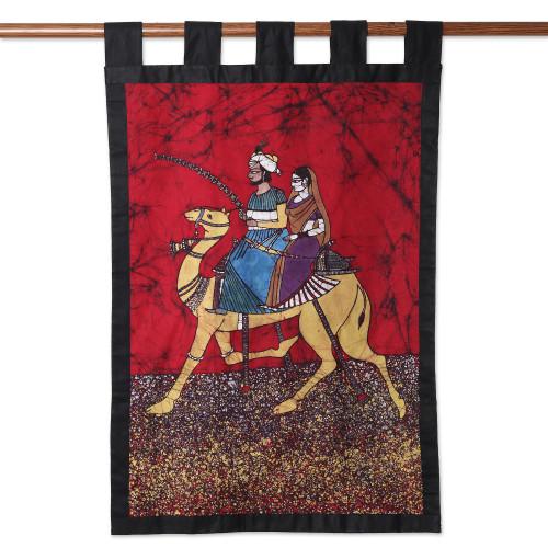 Royal Batik Cotton Wall Hanging from India 'King of Rajasthan'