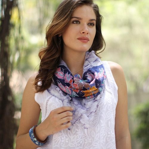 Floral Batik Cotton Scarf in Snow White from India 'Wavy Floral in Snow White'