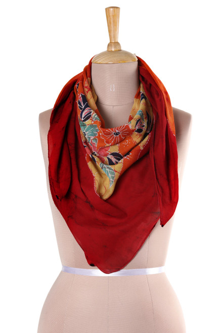 Floral Batik Cotton Scarf in Crimson from India 'Wavy Floral in Crimson'
