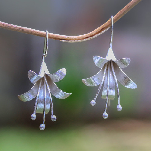 Handcrafted Floral Sterling Silver Drop Earrings from Bali 'Bloom Time'