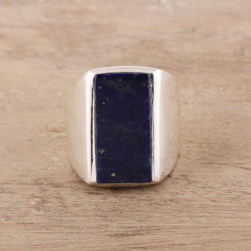Men's Lapis Lazuli Ring Crafted in India 'Blue Obelisk'