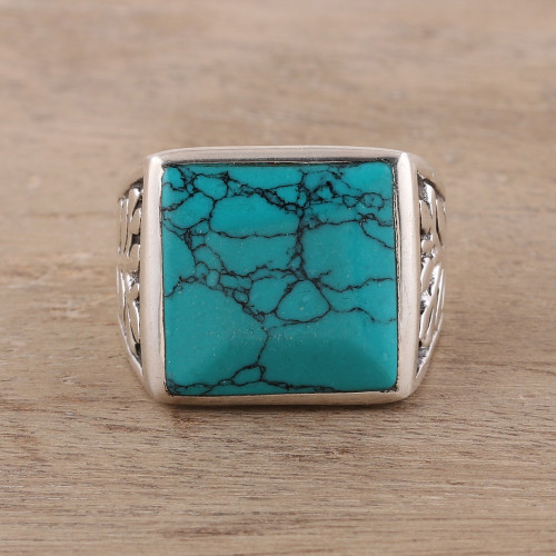 Men's Sterling Silver and Square Recon. Turquoise Ring 'Dark Leaves'