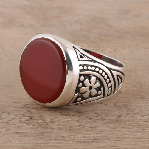 925 Sterling Silver and Carnelian Men's Ring from India 'Native Flower'