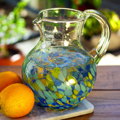Colorful Recycled Glass Pitcher Crafted in Mexico 'Ocean Confetti'