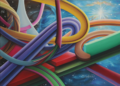 Signed Colorful Surrealist Painting from Brazil 'Equilibrium'