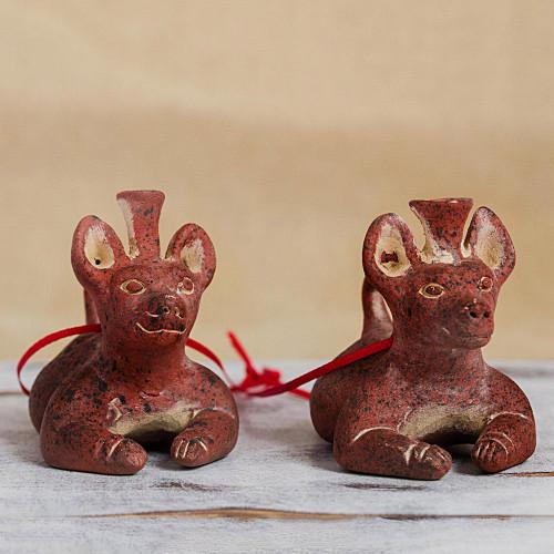 Ceramic Pre-Hispanic Dog Vessel Ornaments from Mexico Pair 'Pre-Hispanic Dog Vessels'