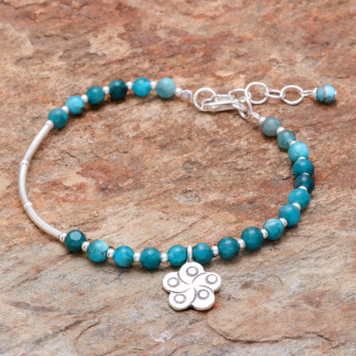 Floral Apatite Beaded Bracelet from Thailand 'Beautiful Flower'