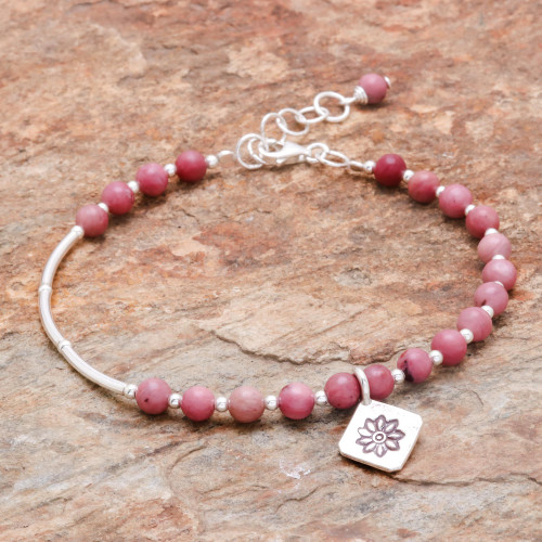 Floral Agate Beaded Bracelet from Thailand 'Pink Hill Tribe'