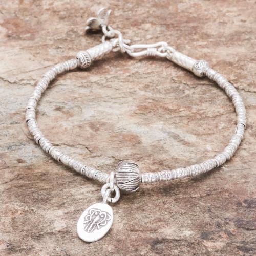 Elephant-Themed Silver Beaded Bracelet from Thailand 'Elephant Oval'