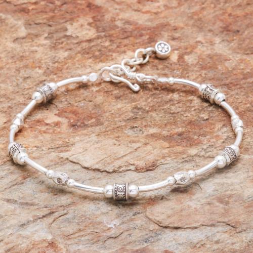 Karen Silver Beaded Bracelet Crafted in Thailand 'Karen Curve'