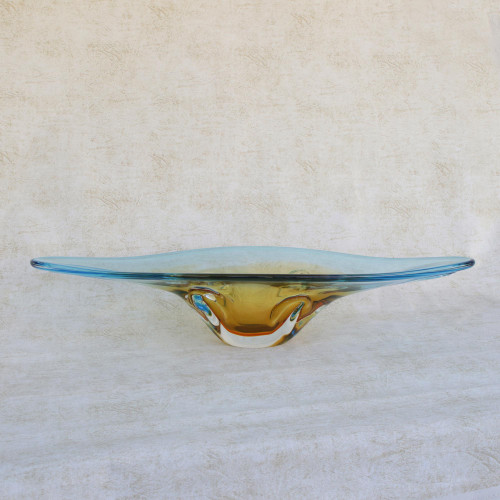 Yellow and Blue Art Glass Centerpiece Bowl from Brazil 'Bending Time'
