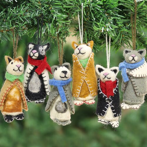 Embroidered Wool Cat Ornaments from India Set of 6 'Cozy Animals'