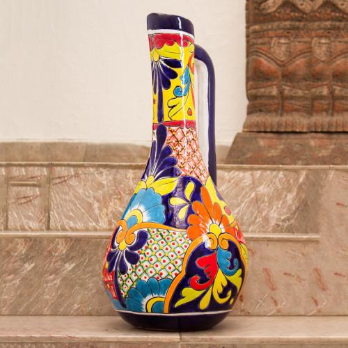 Pitcher-Shaped Talavera-Style Ceramic Vase from Mexico 'Talavera Pitcher'